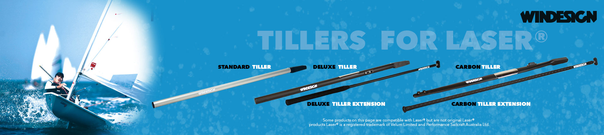 Tiller extension for dinghy 80cm Windesign black anodised with grip and UJ